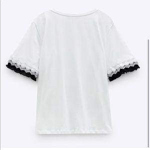 Zara Guipure Applique & Pleated Trim T-Shirt